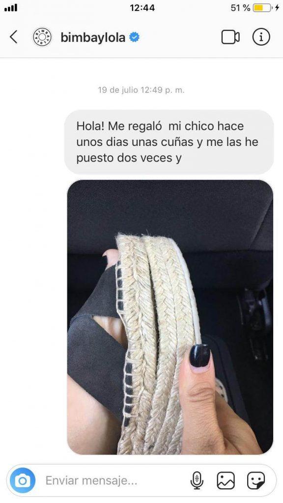 Mensaje privado por Instagram a Bimba y Lola sin respuesta