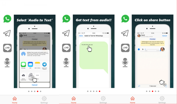 Audio to text para WhatsApp, Line, Telegram y grabadora de sonidos en el iPhone