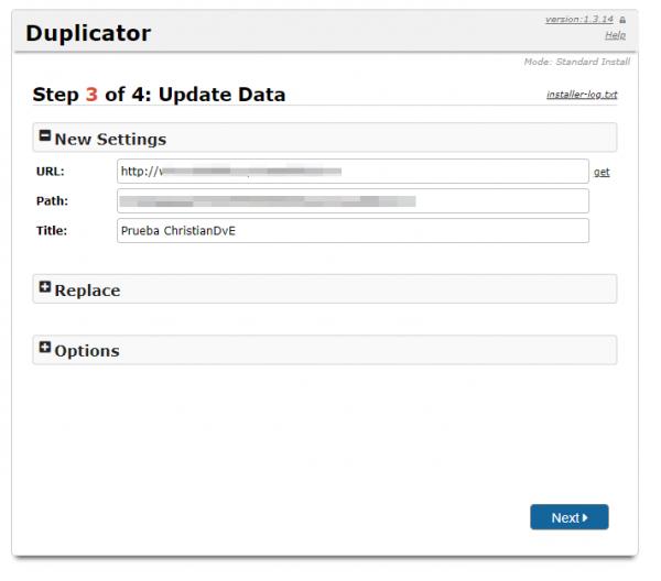 Actualizar datos de la instalación con Duplicator para cambiar de servidor/migrar un WordPress manualmente (Paso 3 de 4)