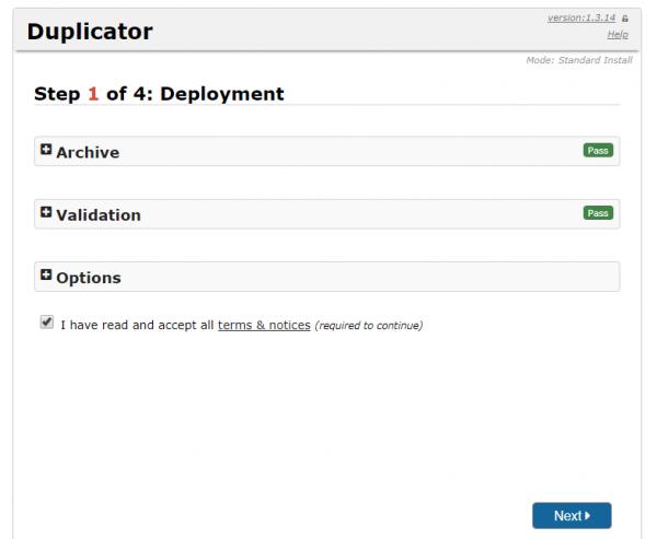 Despliegue de la web con Duplicator para cambiar de servidor/migrar un WordPress manualmente (Paso 1 de 4)