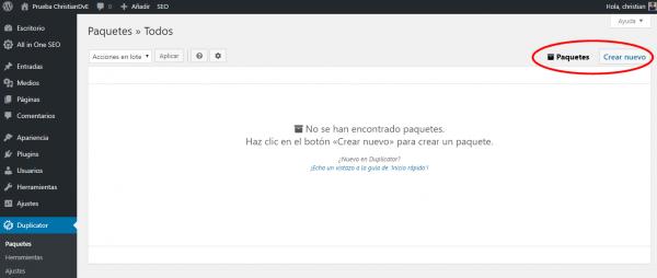 """""""Crear nuevo"""" (paquete de exportación) con Duplicator para cambiar/migrar de servidor un WordPress"""