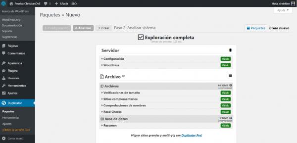 Comprobación de requisitos con Duplicator para cambiar/migrar de servidor un WordPress