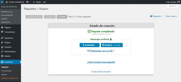 Creado el paquete para cambiar/migrar de servidor un WordPress