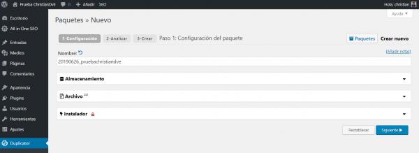 Parámetros para crear el paquete en Duplicator para cambiar/migrar de servidor un WordPress
