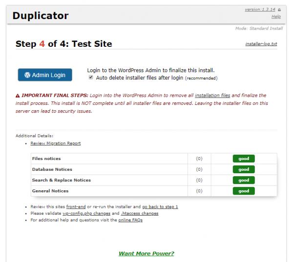 Comprobar la instalación con Duplicator para cambiar de servidor/migrar un WordPress manualmente (Paso 4 de 4)