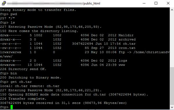 FTP desde el SSH para cambiar/migrar de servidor un WordPress manualmente