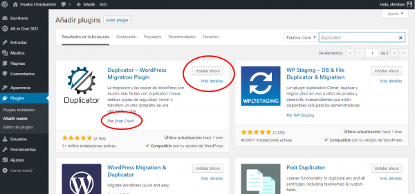 Instalar plugin Duplicator en WordPress para migrar/cambiar de hosting un WordPress