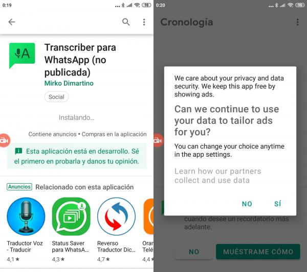 Configurar Transcriber - Pasar notas de voz o audio de WhatsApp a texto con Transcriber para Android