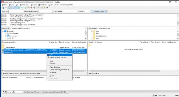 Subir ficheros por FTP para cambiar/migrar de servidor un WordPress