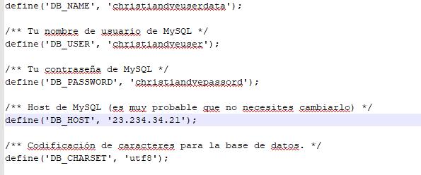 Parámetros de la base de datos en el fichero wp-config.php
