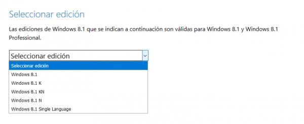 Seleccionar la edición de Windows 8.1 que se quiere descargar