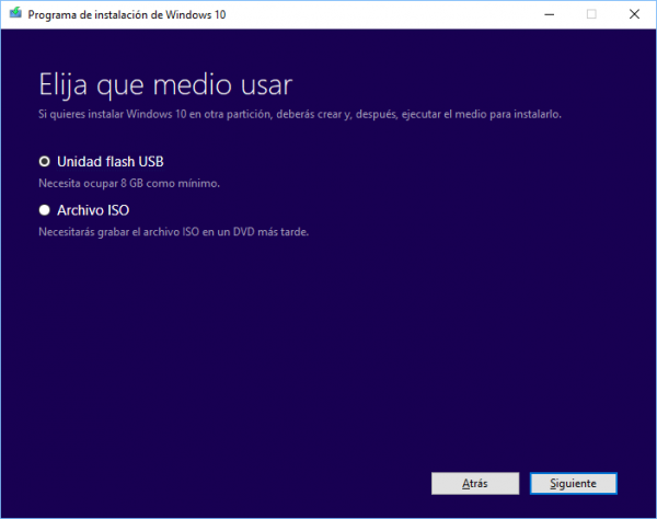 Windows 10: elige el medio a usar