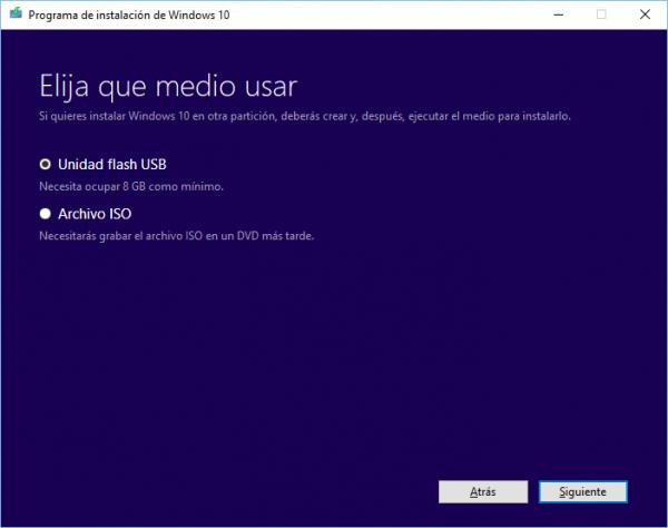 Windows 10: elige el medio a usar