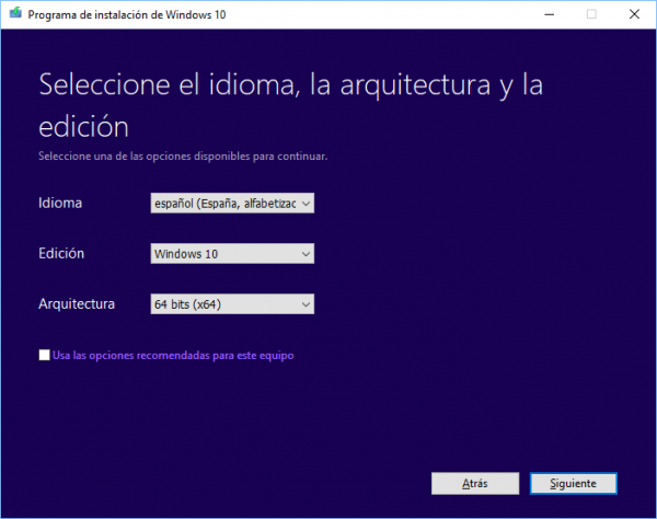 Selección de idioma, Windows 10 y arquitectura del procesador