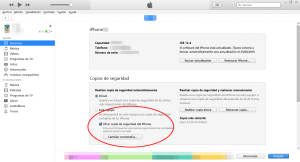 Cifrar copia de seguridad en iTunes