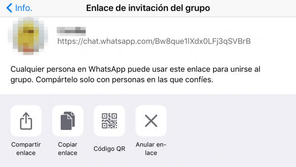 Enlace de invitación a un grupo de WhatsApp