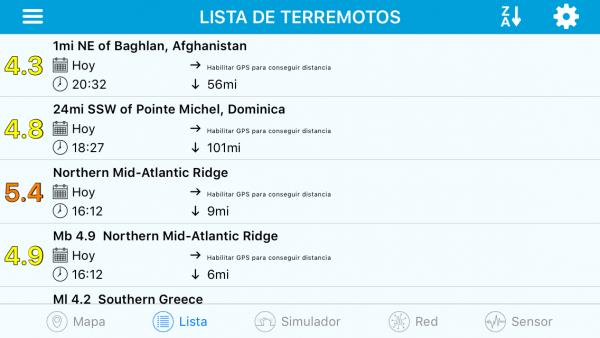 eQuake alerta de terremotos - Lista de terremotos