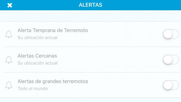 eQuake alerta de terremotos - Configurar alertas