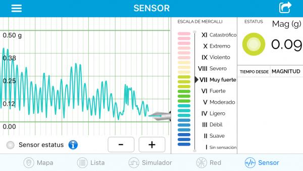 eQuake alerta de terremotos - Sensor / sismómetro