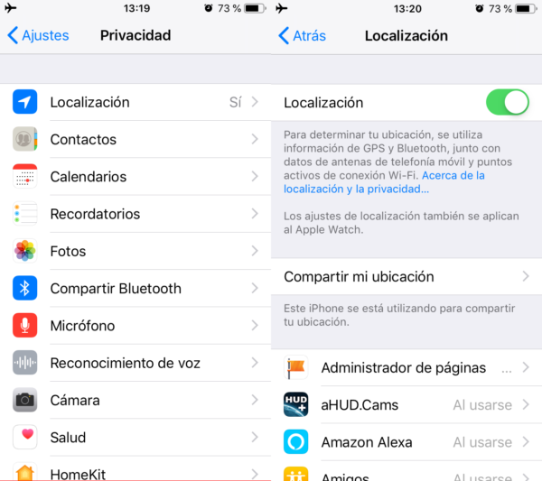 Permisos de apps en iPhone/iPad