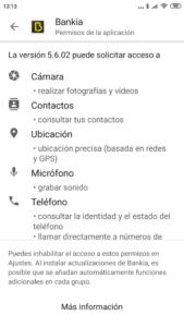 Permisos que pide la app de Bankia