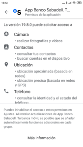 Permisos que pide la app deBanco Sabadell