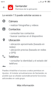 Permisos que pide la app del Santander