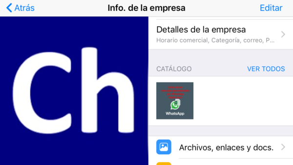 Catálogo de WhatsApp en la ficha de la empresa en WhatsApp Business