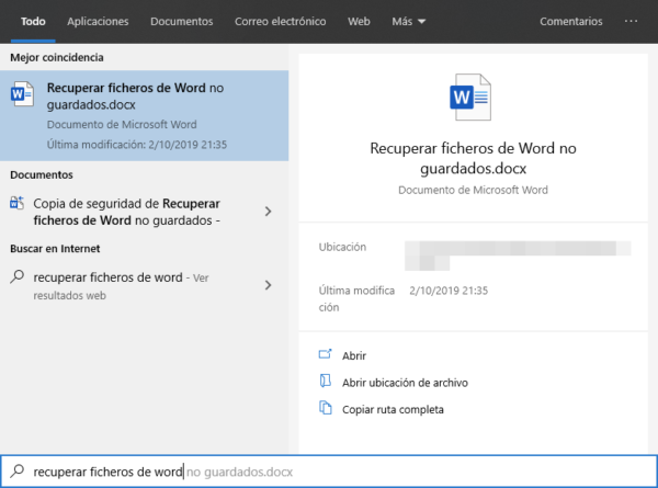 Buscar el documento de Word