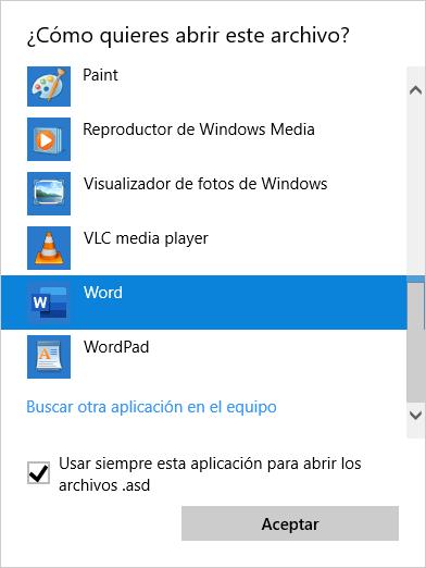 Abrir con... Microsoft Word