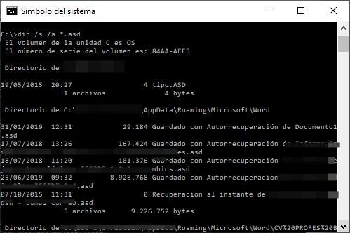Recuperar ficheros no guardados de Word buscando la extensión asd mediante consola de comandos
