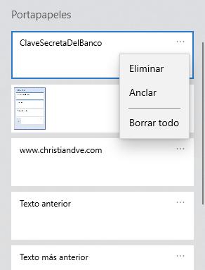 Cómo eliminar todas las entradas del historial del portapapeles en Windows 10