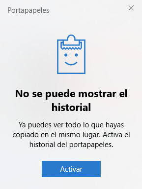 No se puede mostrar el historial del portapapeles de Windows 10