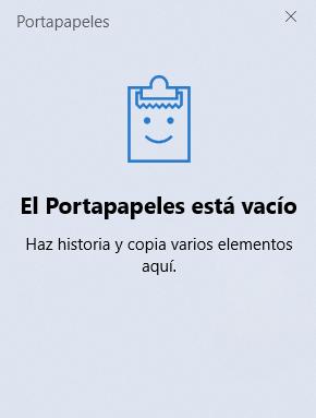 Portapapeles de Windows 10 vacío (historial del portapapeles)
