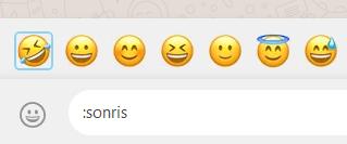 Emoji y emoticonos que aparecen al poner : y una descripción