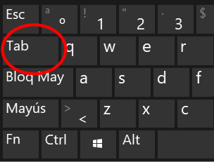 Tecla Tabulador del teclado