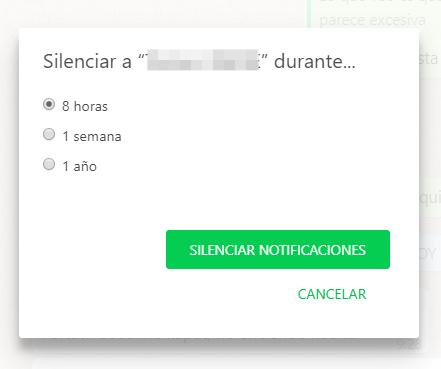 Cómo silenciar un chat de WhatsApp con teclas