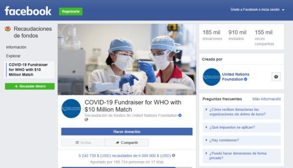 Campaña de donativos en Facebook para la OMS