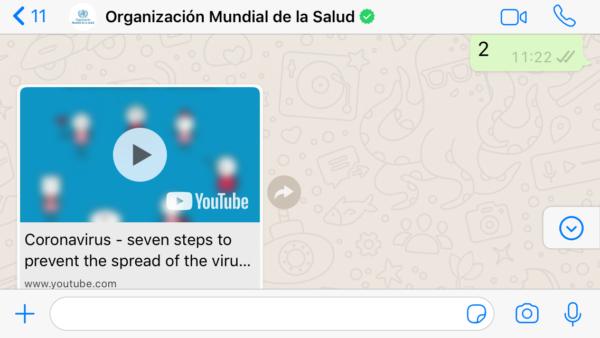 OMS por WhatsApp sobre coronavirus COVID 19- Cómo protegerse