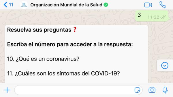 OMS por WhatsApp sobre coronavirus COVID 19- Preguntas frecuentes