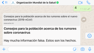 OMS por WhatsApp sobre coronavirus COVID 19- Rumores