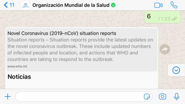 OMS por WhatsApp sobre coronavirus COVID 19- Noticias