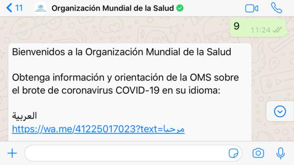 OMS por WhatsApp sobre coronavirus COVID 19- Cambiar idioma