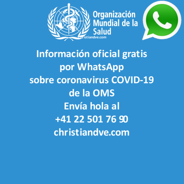WhatsApp y OMS: información oficial sobre coronavirus COVID-19 en español