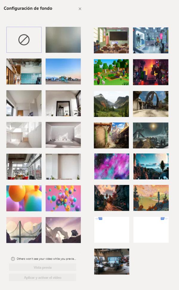 Galería de imágenes de fondo de Microsoft Teams para una videollamada