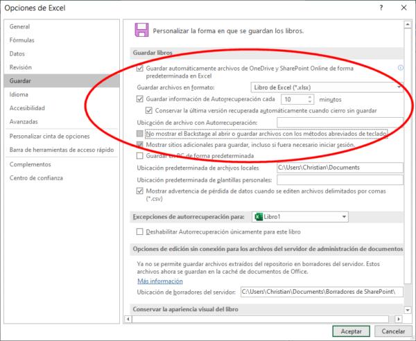 Autorrecuperación: archivos de copia de seguridad de Excel para recuperar archivos no guardados