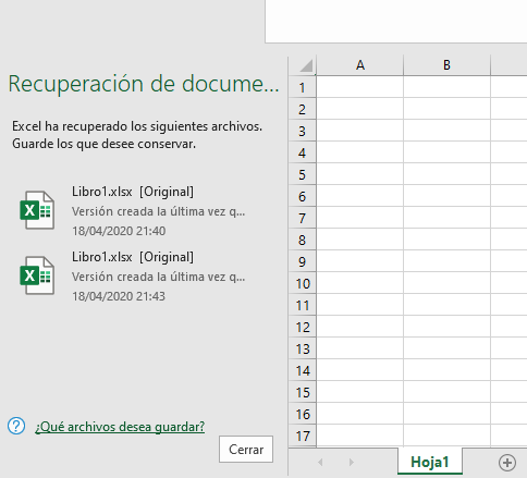Recuperación de documentos no guardados