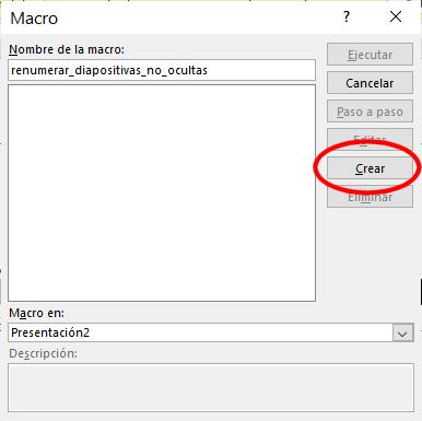 Crear macro para renumerar diapositvas no ocultas en PowerPoint