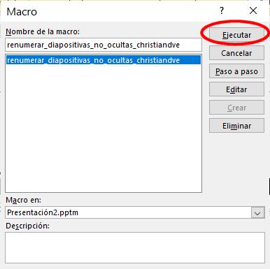 Ejecutar la macro para numerar las diapositivas automáticamente en PowerPoint