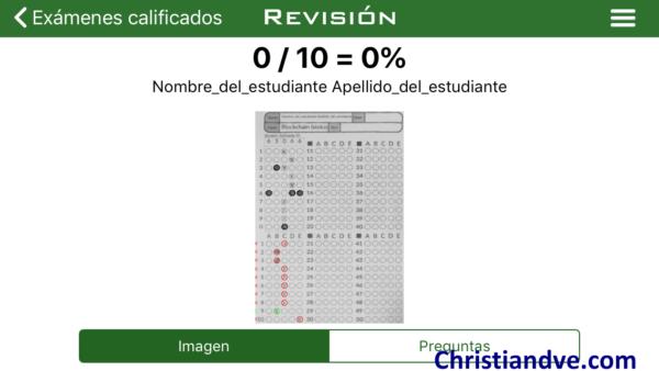 Examen corregido con ZipGrade tipo test automáticamente